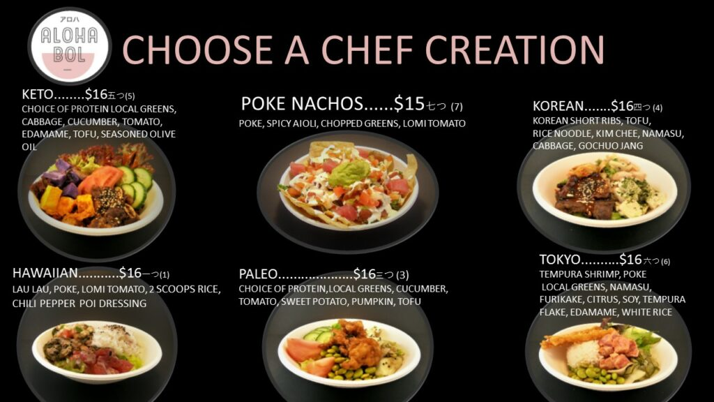 Aloha bol chef creations hawaiian keto paleo tokyo poke nachos korean healthy fast meal